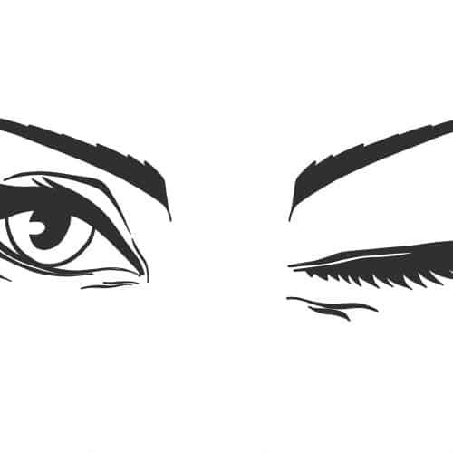 Smukke, blinkende øjne tegnet for online skønhedsguide af tegnestuen helleforhelle.dk