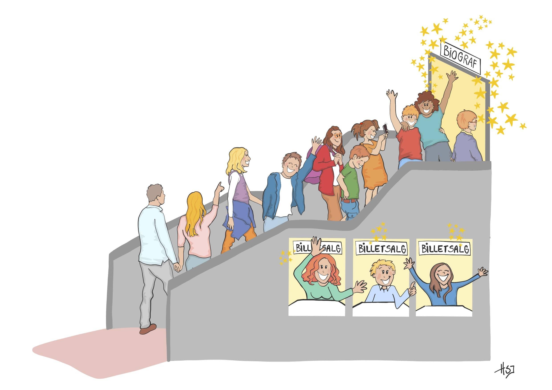 Illustration af biograf i Aalborg - tegnet af tegnestuen helleforhelle for Aalborg filmklub