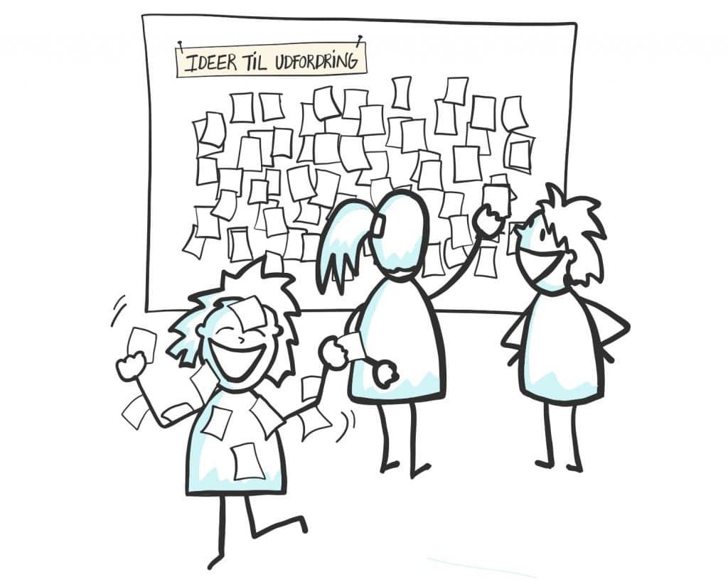 """Illustration til bogen """"Innovationscirklen"""" forfattet af Anni Stavnskær Pedersen og illustreret af Tegnestuen helleforhelle"""