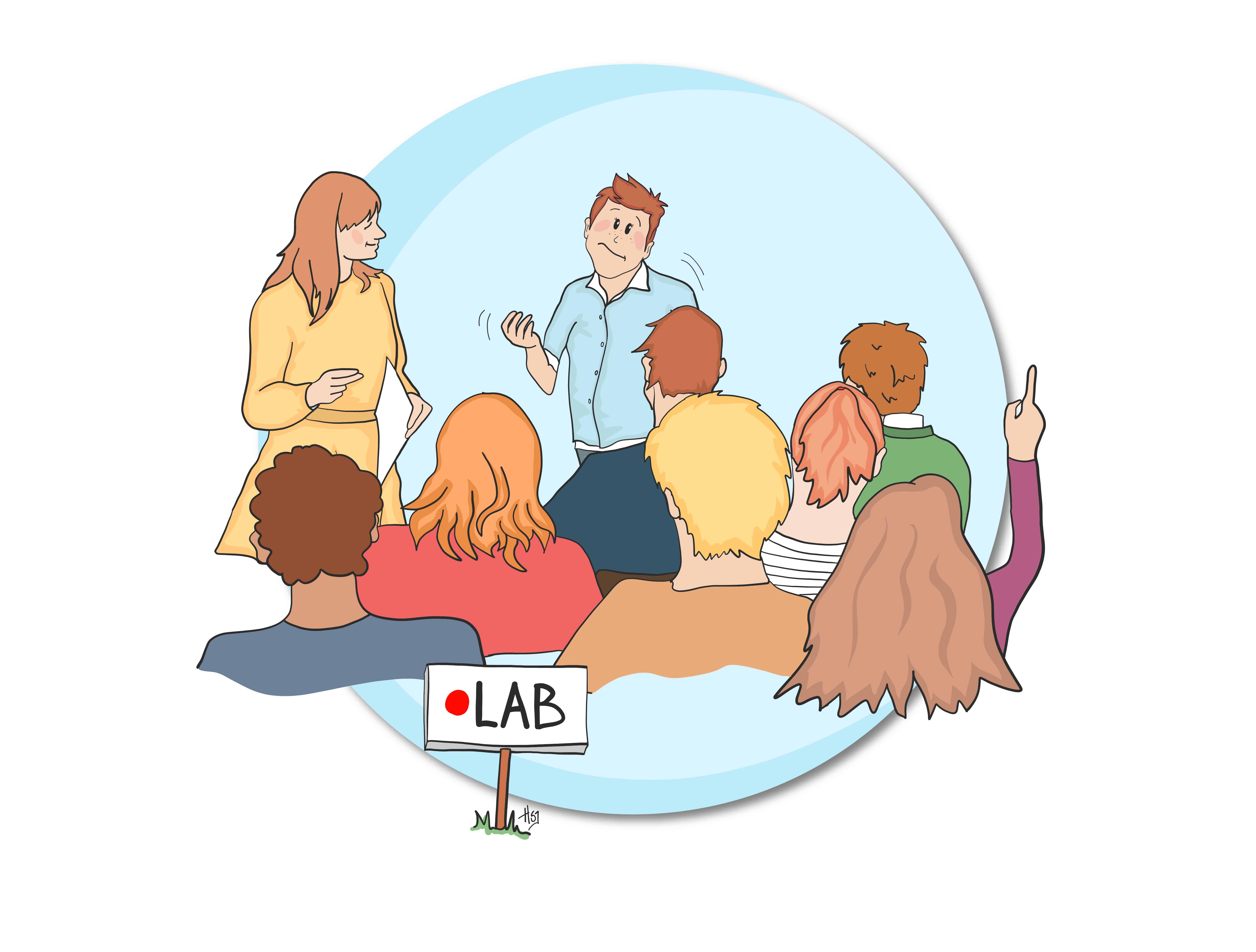 """Illustration af 1. modul på uddannelsen """"Diplom i ledelse"""" - tegnet af Tegnestuen helleforhelle for UCN act2learn"""