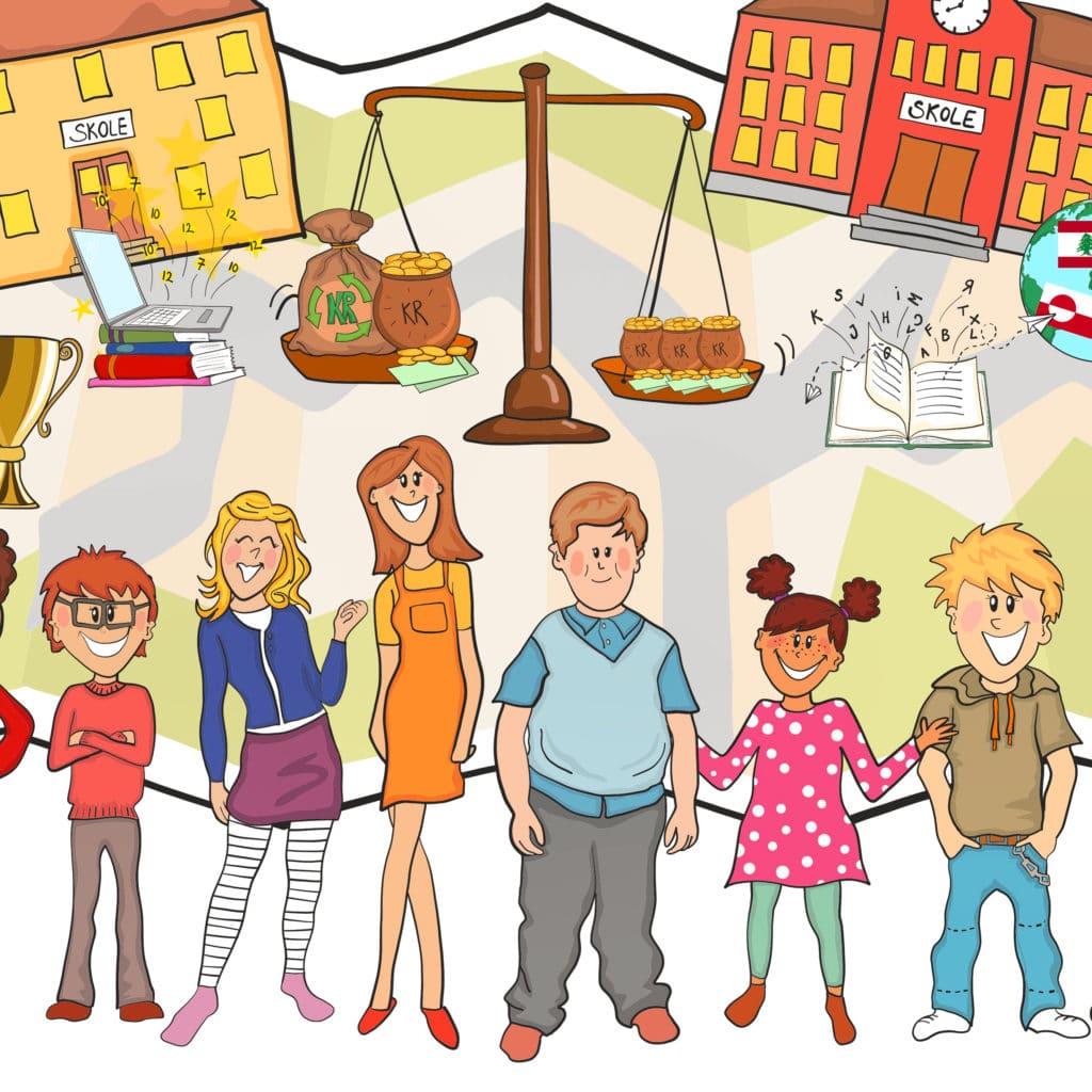 Udsnit af større dialog-tegning udarbejdet for Aalborg Skoleforvaltning af Tegnestuen helleforhelle