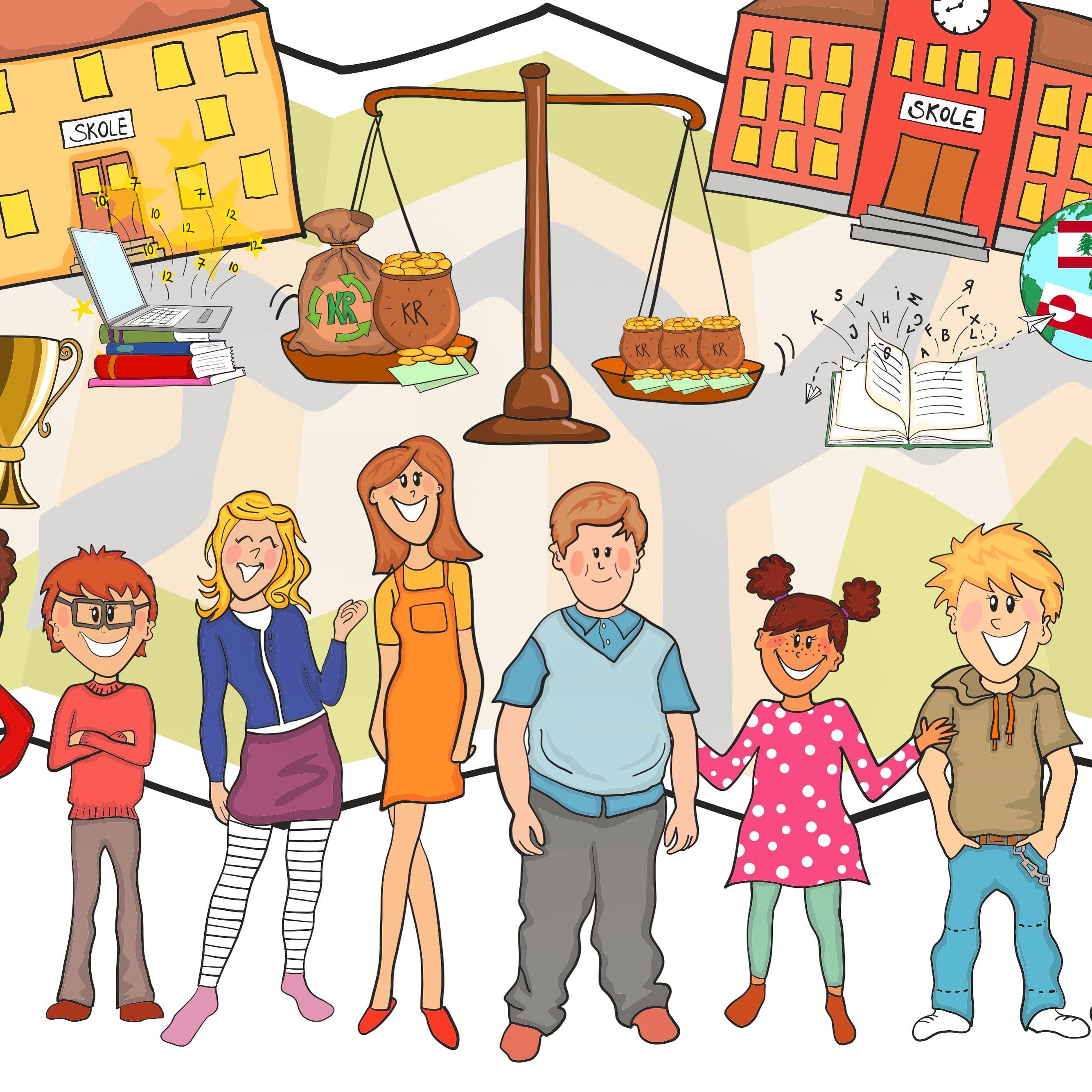 Udsnit af større dialog-tegning udarbejdet fro Aalborg Skoleforvaltning af Tegnestuen helleforhelle