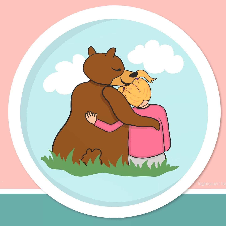 Bjørneyoga er yoga, leg og mindfulness for børn i alle aldre, og disse illustrationer er tegnet af Tegnestuen helleforhelle for Bjørneyoga.dk