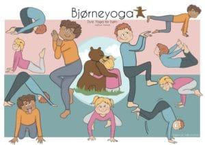 Bjørneyoga ved Lea Bresson har fået tegnet fine yogastillinger for børn af Tegnestuen helleforhelle.dk